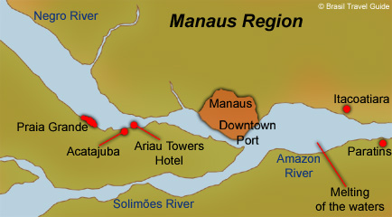 Map of the Amazon Basin, Manaus region and its main spots