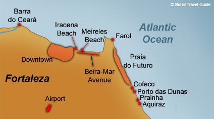 Brazil Fortaleza map: the beaches, the airport and its outskirts