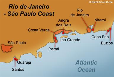 Map of Rio de Janeiro beaches and coast